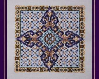Cross Stitch Instant Download Pattern Arabesque! Counted Embroidery Chart.  Ornamental Tile Design. Geometric X Stitch. Mini Mandala.