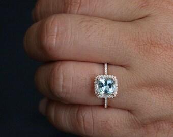 Cushion Aquamarine Engagement Ring in 14k Rose Gold with Aquamarine Cushion 8mm and Diamonds