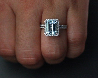 Aquamarine Wedding Ring Set in 14k White Gold with Aquamarine Emerald Cut 10x8mm and Diamond Wedding Band