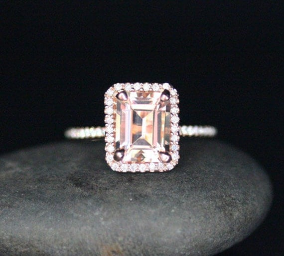Like this item? Add it to your favorites to revisit it later. Emerald Cut  Morganite Engagement Ring ...