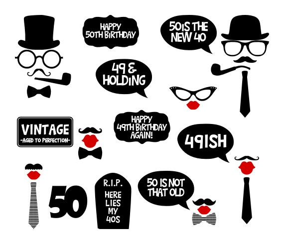 50th Birthday Party Printable Photo Booth By