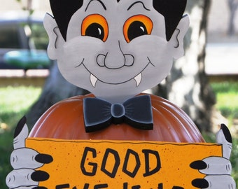 Dracula Halloween Pumpkin Dress Up - Wood Outdoor Sign Decoration