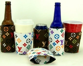 Designer Inspired LV Fabric Beverage Insulator PocketHuggie-Reusable, Starbucks Cold/Hot, Solo Cups,Folds-3 Sizes-Cup,Can,Glass Beer Bottle