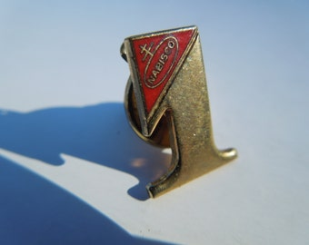 Vintage Nabisco Number 1 Pin.  Gold Tone with Red Enamel