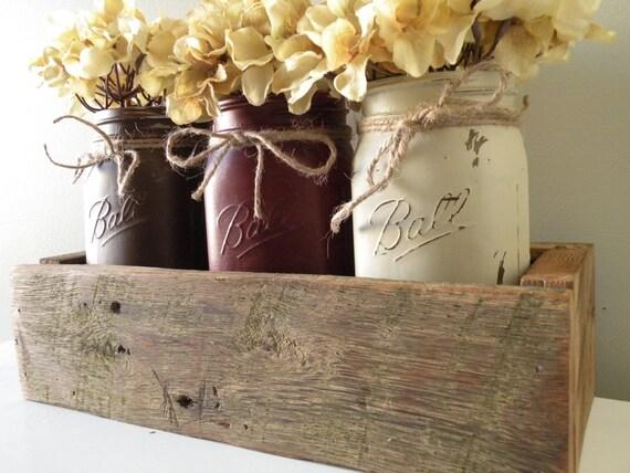 Items similar to Painted Mason Jar and Reclaimed Barn Wood ...
