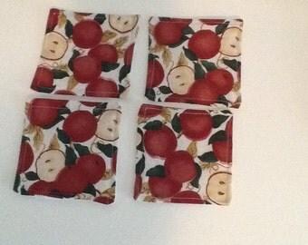 Fabric Coasters - Apple print