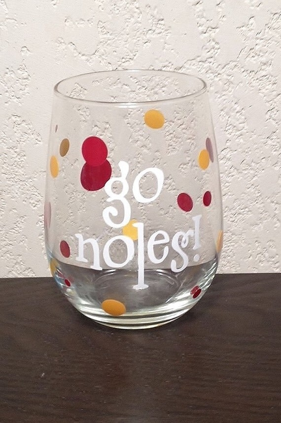 items similar to florida state university wine glass 39 go noles 39 on etsy. Black Bedroom Furniture Sets. Home Design Ideas
