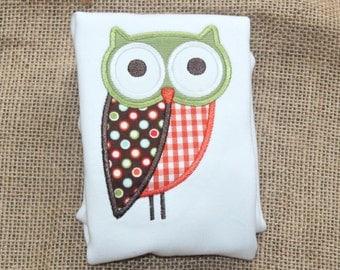 Owl Tshirt, Tee or Bodysuit, Whimsical Owl Applique