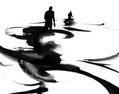 """Figure Water Ink Drawing Gothic Dark Shadow Silhouette Fine Art """"Immersion No. 16"""""""