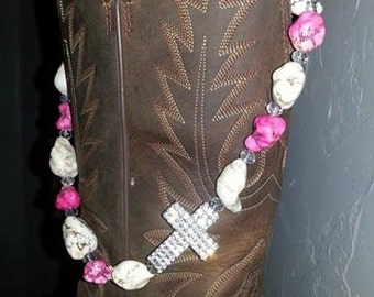Cowgirl Chic Necklace-Pink and White Stone with Rhinestone Cross