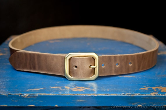 "Custom sized belt - 1.25"" width - Horween Chromexcel leather - center bar buckle - natural chromexcel"