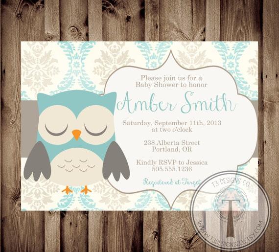 Printable Baby Shower Invite, Owl Baby Shower Invitation