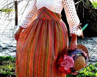 Vintage 70s Hippie Extra long Maxi dress Candy Stripe Silk and Broderie Anglaise Lace eyelet