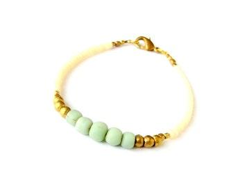 Boho Jewelry Dainty Tribal Bracelet Friendship Bracelet - MINT GREEN - Tribal Jewelry Bohemian Jewelry Hippie - Stackable Seed Bead Bracelet