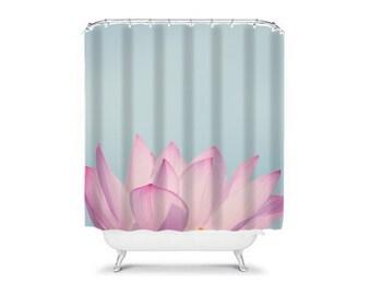 Lotus Meets Sky - shower curtain, bathroom, college, apartment, asia,  travel, wanderlust, decor, cottage, chic, pink, purple, blue, pretty