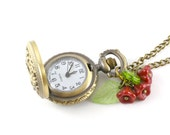Vintage Locket Timepiece Pendant, Pocket Watch Necklace, Working Watch Necklace, Mother's Day Gift