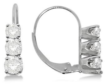 Three-Stone Leverback Diamond Earrings 14k White Gold (1.00ct)