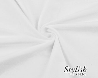 White Cotton Lycra Jersey Knit Fabric Combed 10oz Cotton Stretch Cotton Spandex Fabric by the Yard - 1 Yard Style 451