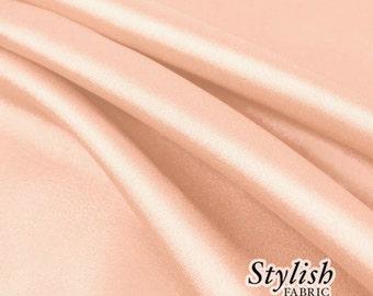 "60"" Peach Charmeuse Satin Fabric by the Yard, Charmeuse Fabrics, Charmeuse Satin, Bridal Wedding Satin Fabric- 1 Yard Style 2800"