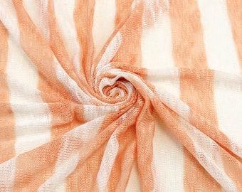 "1 1/2"" Peach Off White Stripe Sweater Knit Fabric - 1 Yard Style 6270"