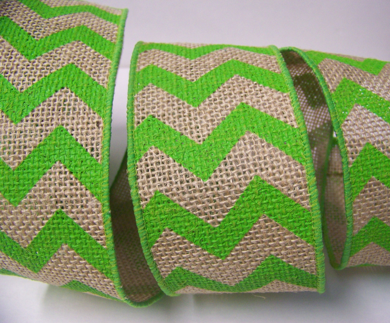 Burlap ribbon green chevron ribbon rustic wedding decor for Green burlap ribbon