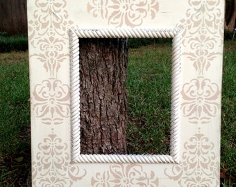 11x14 distressed damask frame--soft tan on heirloom with heirloom rope trim