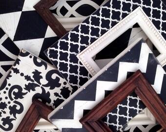 set of five black & white distressed frames --chevron, harlequin, filigree, marrakech, and damask custom frame set