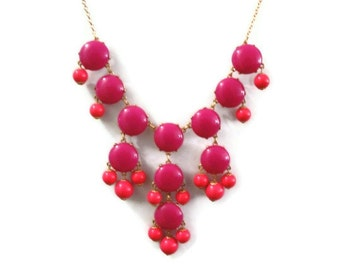 Hot Pink Necklace, Fuchsia Bubble Necklace, Bauble Necklace, Bubble Necklace, Hot Pink Bib Necklace, Statement