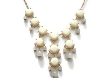 Mini Bubble Necklace, Small Bauble Necklace, Off White Mini Bubble Necklace, J Crew Inspired, Creme Bib Necklace
