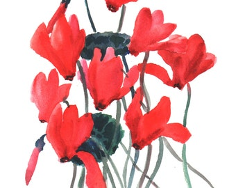 Cyclamens, original watercolor painting, 9 X 12, red flowers mimalism