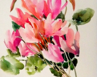 Pink Cyclamens, original watercolor painting, 12 X 9 in, floral art, pink flowers painting soft pink floral wall art