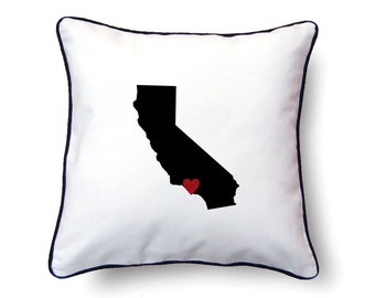 California Pillow - 18x18 - California Map - Personalized Name or Text Optional - Wedding - Housewarming Gifts