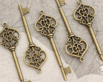 10 Large Skeleton Keys Double sided Antique Brass Steampunk Supplies Wedding Key