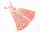 Long Soft Peach Grass Silk Thread Tassels -  2.75 inches - 70mm  - 2 pc