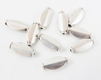 NEW - 10 Ellipse Bead Matte Silver Plated Beads Spacers