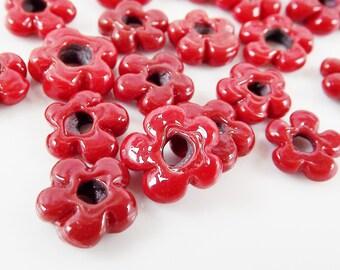 15 Deep Red Mini Flower Artisan Handmade Glass Beads - 13mm