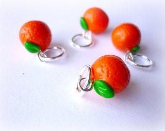 Orange stitch markers, tangarines, satsuma markers, handmade stitch markers, set of 4 - UK seller