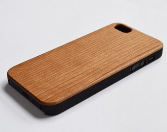 SALE: Wood iPhone 5 case. Fits both iPhone 5 and 5S. Cherry wood veneer with plastic chassis.