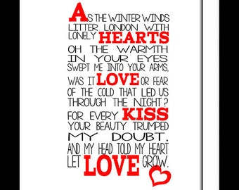 A3 Mumford and Sons Winter winds  Print Typography song music lyrics for framing   ( Print Only )
