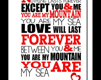 A3 Biffy Clyro Mountains  Print Typography song music lyrics for framing   ( Print Only )