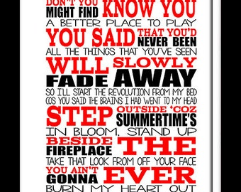A3 Oasis Dont look back in anger   Print Typography song music lyrics for framing   ( Print Only )