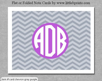 Gray Purple Chevron Monogram Note Cards Set of 10 personalized flat or folded cards