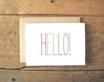 Hello card. Blank Inside. Bright and Cheery