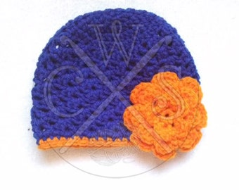 Two Tone Beanie Hat with Flower Accent, customizable with your favorite colors