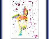 ORIGINAL Watercolor  Painting  Abstract   Contemporary  Art   Modern Dog Whippet Animal by Tanja Bell
