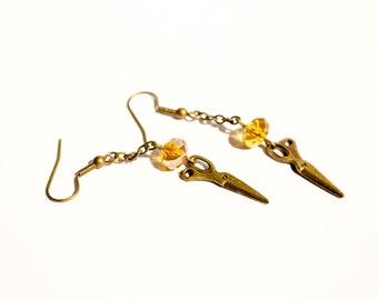 Wheat Blossom - Free Falling Dangle Mini Scissors Pendant Cute Earrings