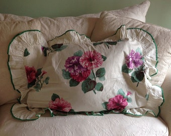 Shabby Chic Vintage 1940s Cotton Floral Pillow Sham and Table Skirt