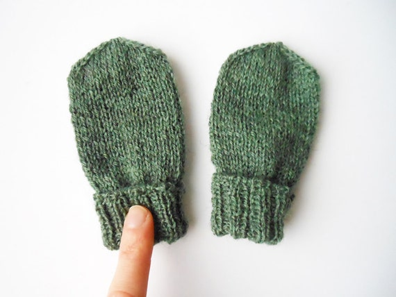 Knitting Pattern For Thumbless Mittens : Items similar to Baby mittens in green, thumbless, gender neutral mittens, ha...