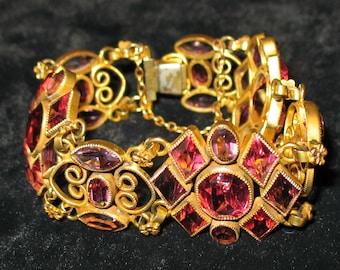 1950s Bracelet, 1960s Bracelet, 1950s, 1960s Wide Bracelet, 1960s Pink Beveled Glass Bracelet with Safety Chain, Geometric Glass Bracelet