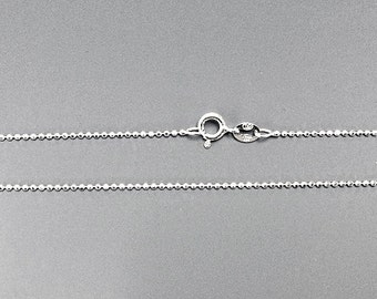 925 Solid Sterling Silver Diamond Cut 1.2mm Bead Chain 16, 18, 20, 30 inch Necklace Made in Italy Marked 925 - SC12BCDXX